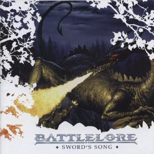 The album cover for Sword's Song has a huge dragon that's breathing fire. The picture is appropriate for the cover because the lyrical themes of the album are fantasy based.