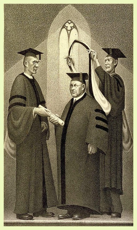 This lithograph titled 1937 Honorary Degree is just one of the many Black & white images that Grant wood created during his lifetime.