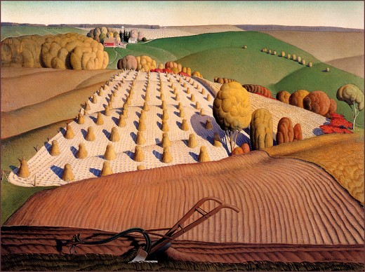 This painting, titled Fall Plowing, clearly demonstrates Grant Wood's regionalist and Midwestern style
