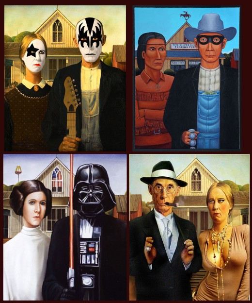 Here are a quartet of American Gothic parodies
