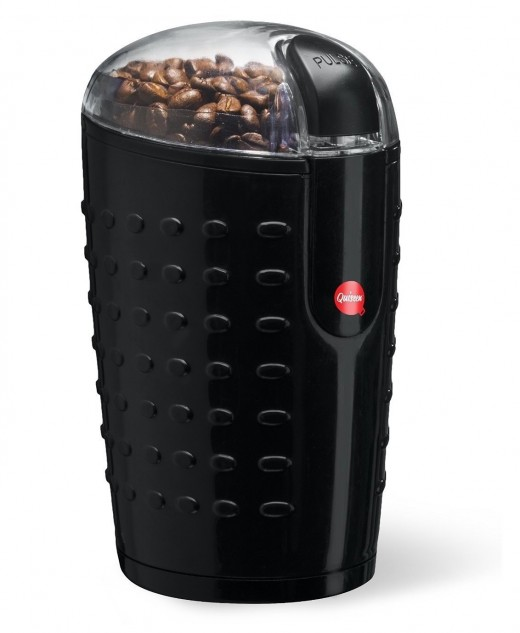 The Quiseen is a one-touch electric grinder that is both affordable and durable.  It does the job basically.  You hold down the button and wait until the spinning blades have chopped up the beans to the required coarseness of grounds.