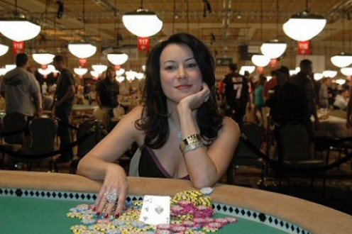Jennifer Tilly, wearing her 2005 WSOP event bracelet, the first for a non-poker celebrity.  She is the 33rd most successful female poker player in the world (in terms of tournament money won).