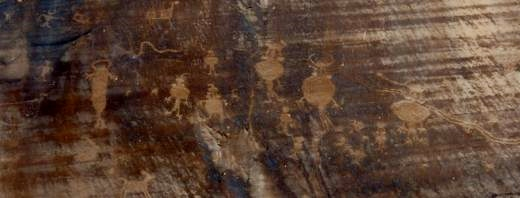 Numerous petroglyphs can be found in Canyonlands National Park.