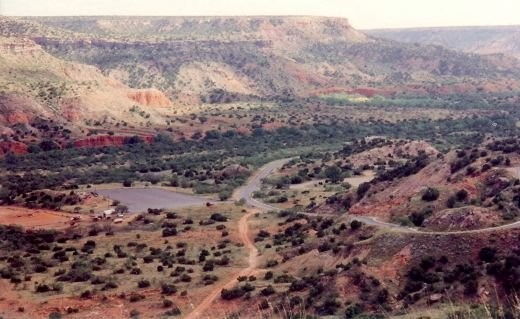 Roads going down into Palo Duro Canyon