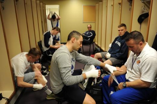 Boxer preparing for fight