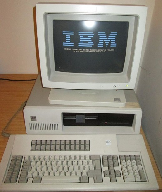 Old PCs are large and heavy like this IBM 3270 PC with 122-key keyboard and 5272 colour monitor.