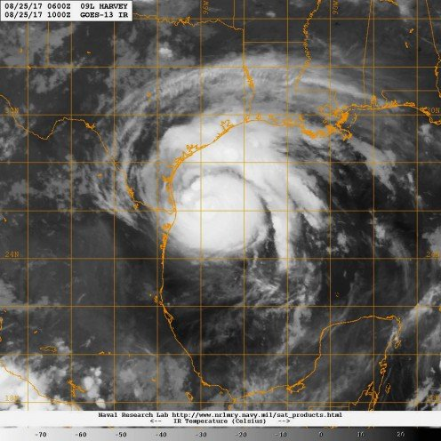 Infrared satellite image of Hurricane Harvey