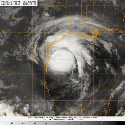 Infrared satellite image of Hurricane Harvey