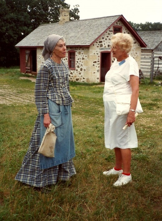My Aunt Arry talking to one of the costumed workers at Old World Wisconsin.