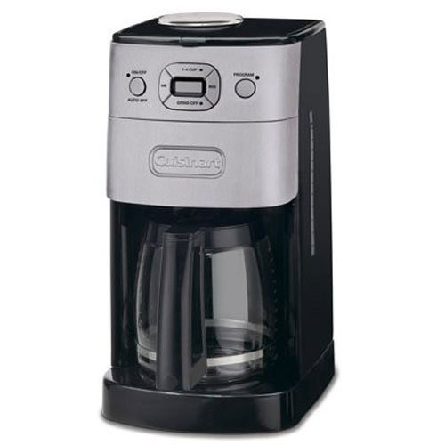 The Cuisinart DGB-625BC grind and brew offers great value for a machine at the lowest end of the price range.  The grinder is not the quietest, but you would have to pay a lot more for an improvement.  The carafe keeps your coffee tasty and hot.
