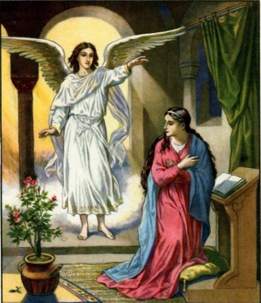 Angel Gabriel conveys God's message to Mary.