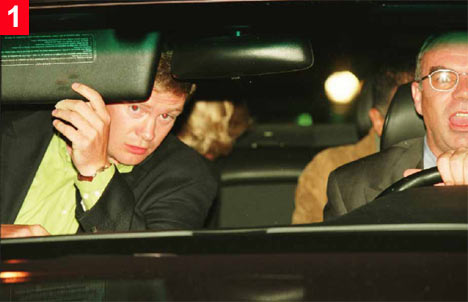 Bodyguard Trevor-Rees, in front passenger seat, looks concerned second before the fatal crash.  He was only occupant to survive. Driver  Henri Paul (right) has a twisted grin on his face as he's blinded by flashing light.