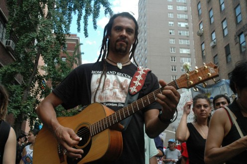 2004 protest of the Republican National Convention, New York City. Most hippies knew how to both sing and play a guitar which was a prerequisite for being a successful hippy.