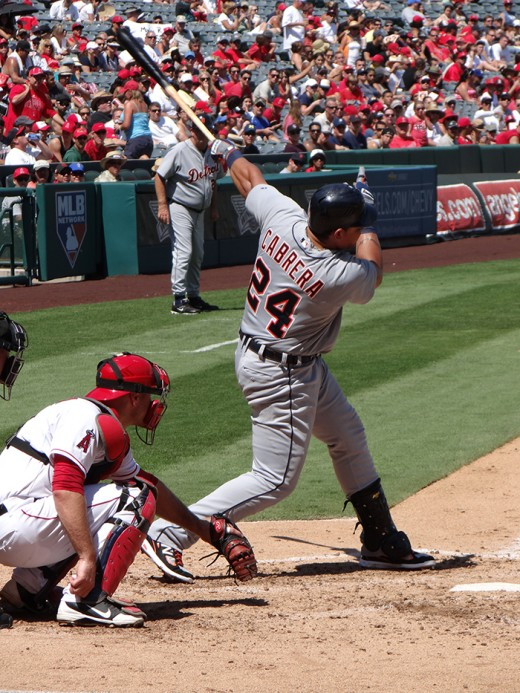 Miguel Cabrera in happier days when he was hitting the ball in 2012.