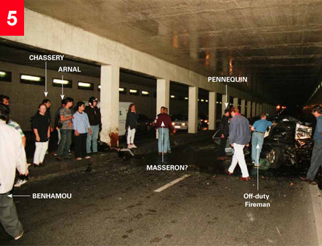 Photo of people gathering in tunnel shortly after tragic crash which took Diana's life.