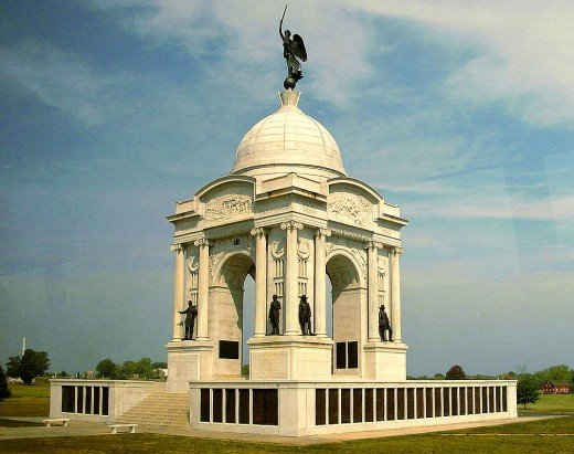 The Pennysylvania Memorial is the largest monument at Gettysburg.