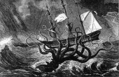 Monsters of the Sea. Robert Hale Ltd.  Imaginary view of giant octopus capturing ship.