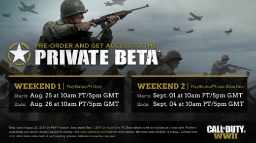 Call of Duty: WW2's second multiplayer weekend BETA goes LIVE tomorrow at 10AM pacific time. That is 6PM UK time.