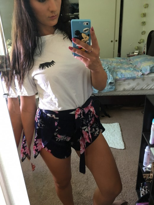 Winky T-Shirt from Shein Floral Skirt/Shorts from Forever 21