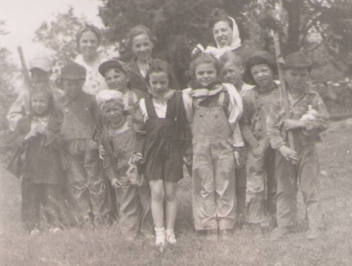 Photo from 1940s of rural school students. The author is third from left, middle row, ball call...