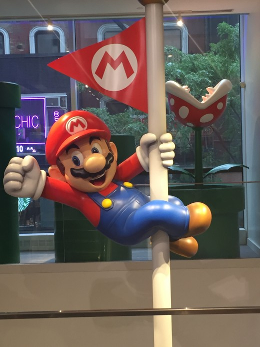 Mario as featured in a display by the stairs