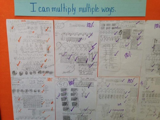 Here my students are showing how to represent multiplication different ways. This took about 15 minutes and a few students with special needs took longer and received accommodations to complete their tasks.
