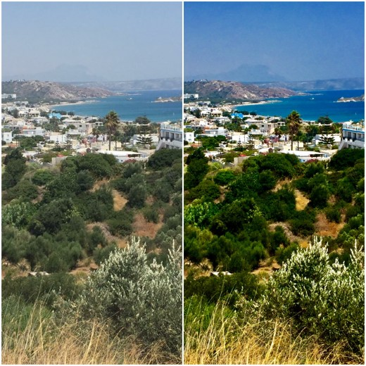 The view of Kamari bay from atop Kefalos. On the left is the original unedited photo.