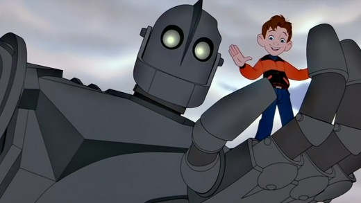 The Iron Giant (Vin Diesel) and Hogarth Hughes (Eli Marienthal).