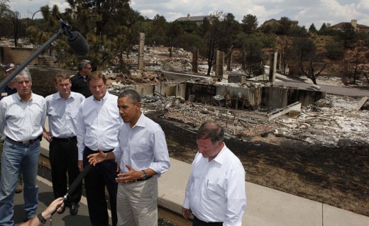 Former President Obama, after touring the disaster zone created as a result of the Waldo Canyon Fire in (2012)