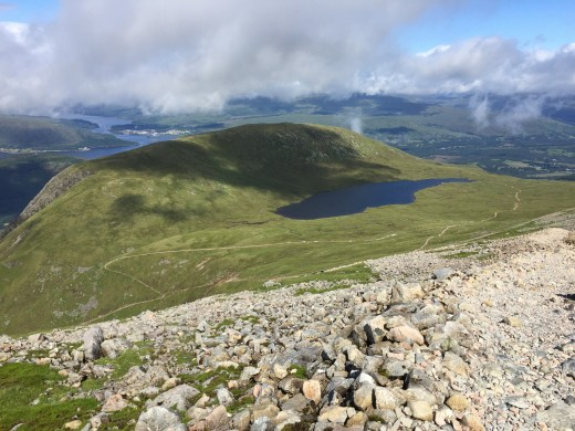 That is a fantastic rearward view. In the backdrop lies Lochan Meall an t-Suidhe and Meall an t-Suidhe. You can make out the line of the mountain track that we have not so long ago trekked.