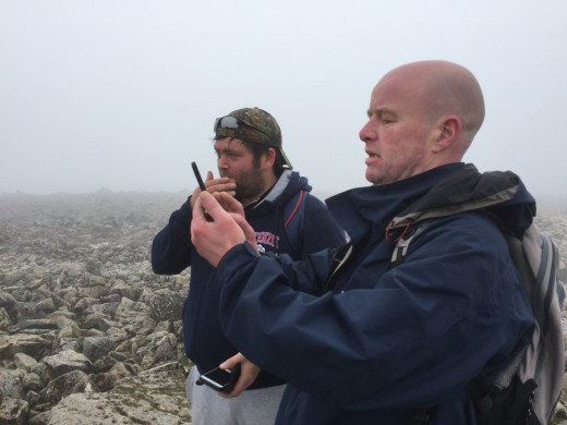 Out with the cameras. Remarkably our mobile phones enjoy quite a strong signal here at the summit.