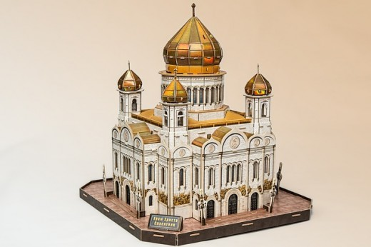 Churches, temples, and cathedrals are popular commercial buildings for 3D puzzles.
