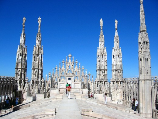 The roof of the Duomo (Cathedral) in Milan (Italy).