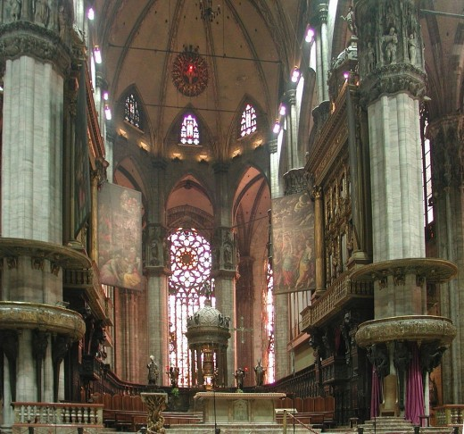Inside the Duomo (Cathedral) in Milan.