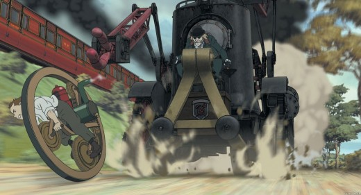 Ray escaping from a locomotive vehicle riding his mono wheel.