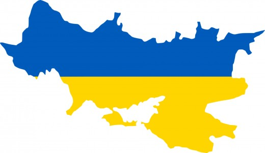 The map of ukraine with the flag.