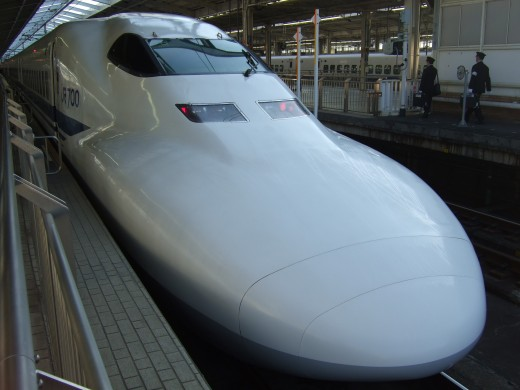 A Japanese bullet train looking gorgeous.