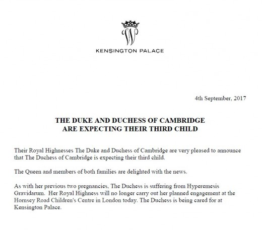The Letter the Kensington Palace post on twitter to announce the Duchess of Cambridge Pregnancy.
