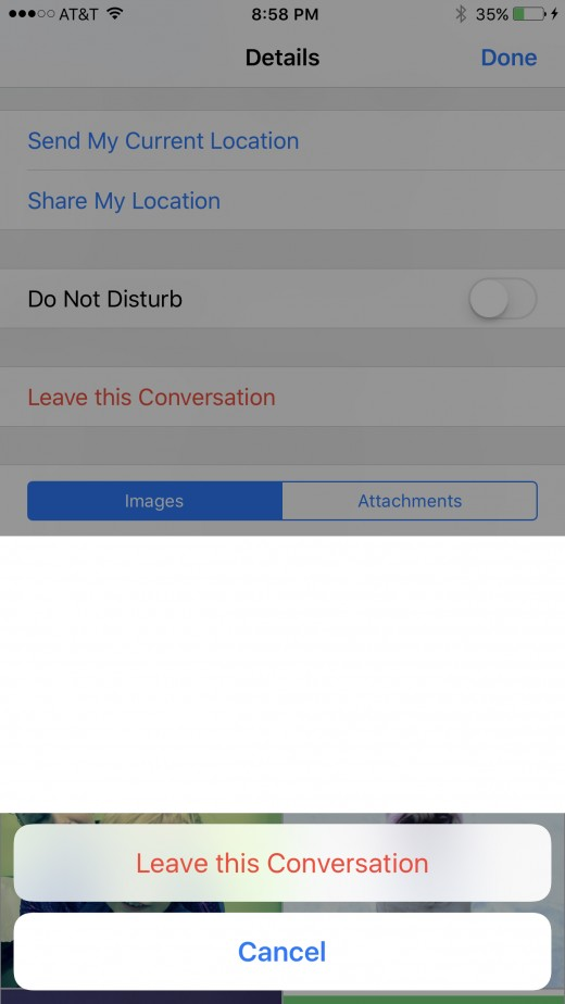 "Select the red ""Leave this Conversation"" button."