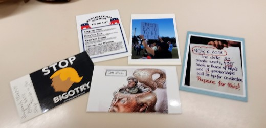 Postcards I made by printing out political memes from social media.