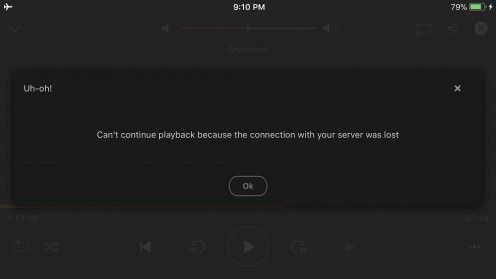 If you're watching a video and suddenly lose connectivity to the Plex Media Server, you'll see a message similar to this one.
