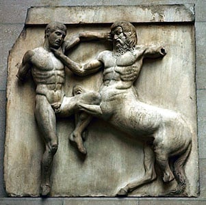 Centaur and Lapith, high relief metope, one of the Elgin Marbles, from the Parthenon, Athens, 5th century BC in the British Museum. (SEFArt Resource, New York)