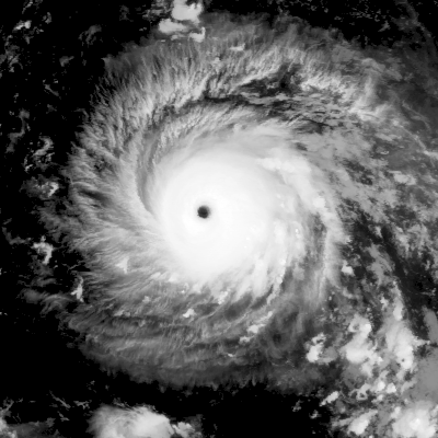 Hurricane Irma as a category 5 hurricane in the Eastern Caribbean.
