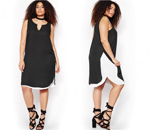 trendy and sophisticated layered sleeveless, scoop neck A-line dress with key hole detail, rounded side slits