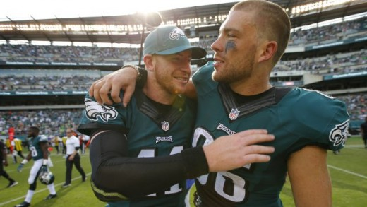 Will Philadelphia Eagles TE Zach Ertz (L) be QB Carson Wentz's (R) new security blanket?