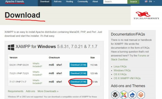 This link wil not redirect you to xampp download , it will redirect you to my website Technoversity