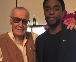 "Black Panther co-creator Stan Lee tweeted this photo with actor Chadwick Boseman with the caption: ""In 1966 we brought Black Panther to the pages of Marvel... Now this talented young man brings him to the silver screen! You have my respect!"""