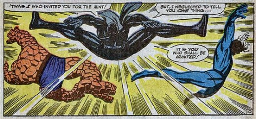 A formidable fighter, Black Panther gives The Thing and Mr. Fantastic  a run for their money in the pages of Fantastic Four #52