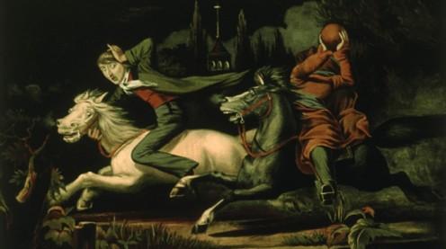 Ichabod Crane being pursued by the headless horseman.