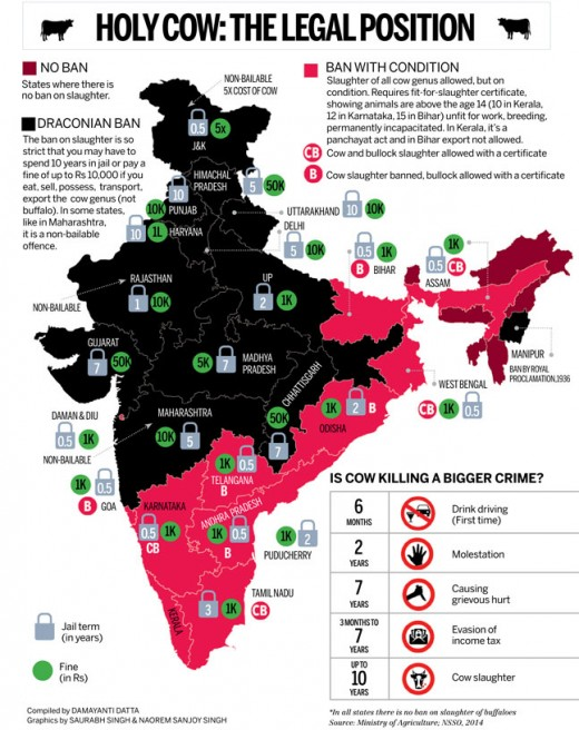 legal position of indian states on cow slaughter and ban.